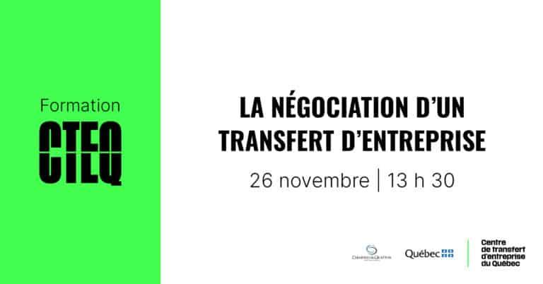 Formation: La négociation d'un transfert d'entreprise