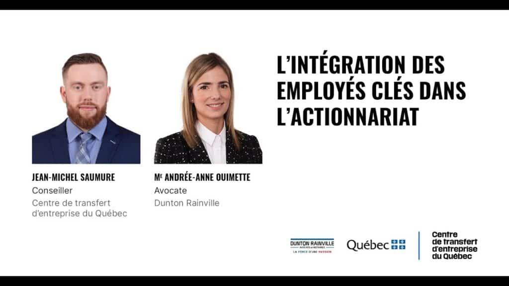 L'intégration des employés clés dans l'actionnariat